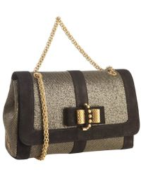 Christian Louboutin Black Suede and Gold Netting Sweet Charity Small Covertible Shoulder Bag - Lyst