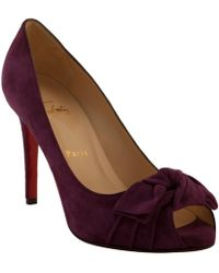 Christian Louboutin Amethyst Suede Madame Butterfly 100 Peep Toe Pumps - Lyst