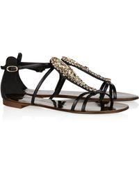 Giuseppe Zanotti Crystal-embellished Leather Sandals - Lyst