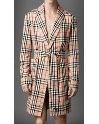 Burberry | Check Cotton Dressing Gown | Lyst