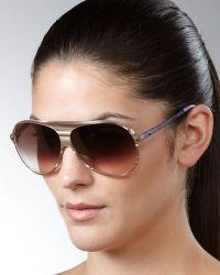 Dior Tahuata Aviator Sunglasses, Beige - Lyst