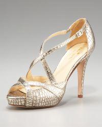 Kate Spade Snake-embossed Strappy Sandal gold - Lyst