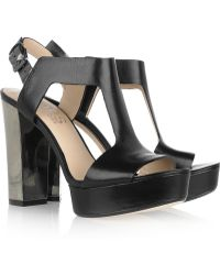 Kors by Michael Kors - Vernon - Black Leather Platform Sandal - Lyst