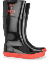 Moschino Cheap & Chic Wet-A-Porter Patent-Rubber Boots black - Lyst
