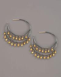 Padma - Beaded Hoop Earrings, Medium - Lyst