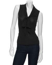 Rachel Zoe Tie Collar Sleeveless Top - Lyst
