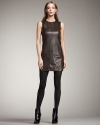 Vince Leather Tunic Dress - Lyst
