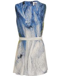 Aganovich - Printed and Belted Silk Tunic - Lyst