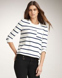 Burberry Brit - Striped Zip-shoulder Tee - Lyst
