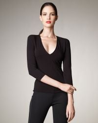 Donna Karan New York V-neck Jersey Top - Lyst
