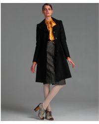 Dolce & Gabbana - Black Shimmer Wool Blend Skirted Coat - Lyst