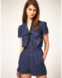 ASOS Collection Asos Pussybow Denim Playsuit - Lyst