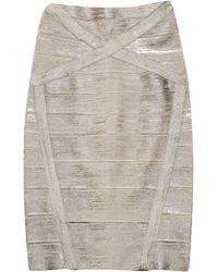 Hervé Léger Arlis Metallic Coated Bandage Skirt - Lyst