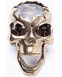 Nasty Gal Crystal Skull Ring gold - Lyst