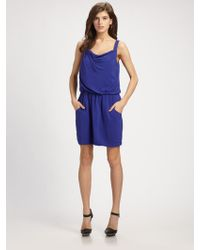 Theory Jaylyn Ruched Cowlneck Dress - Lyst