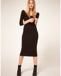 ASOS Collection Asos 3/4 Sleeve Midi Bodycon Dress - Lyst