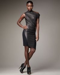 Helmut Lang Ruched Matte Leather Dress - Lyst