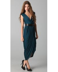 Doo. Ri - Long V Neck Dress with Belt - Lyst