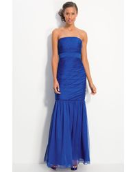 ML Monique Lhuillier Bridesmaids Pleated Strapless Chiffon Gown - Lyst