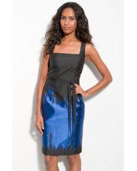Teri Jon Colorblock Taffeta Sheath Dress - Lyst