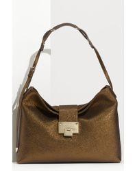 Jimmy Choo Rachel Glitter Calfskin Leather Shoulder Bag - Lyst