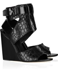 Alexander Wang Natalia Embossed-leather Wedge Sandals - Lyst
