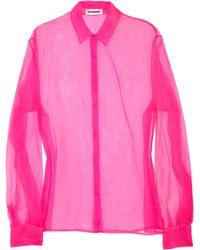 Jil Sander Sheer Silk-chiffon Shirt - Lyst