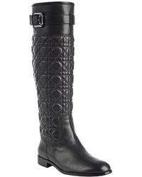 Dior  Cannage Leather Buckle Detail Boots - Lyst