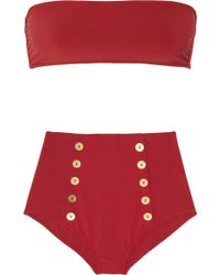 Saint Laurent - High-waist Bandeau Two-piece - Lyst