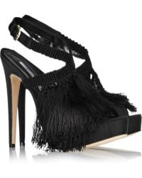 Brian Atwood Africa Satin and Fringed Crochet Sandals - Lyst