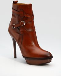 Ralph Lauren Collection Burnished Ankle Boots - Lyst