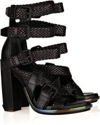 Alexander Wang Petra Textured-leather Sandals - Lyst