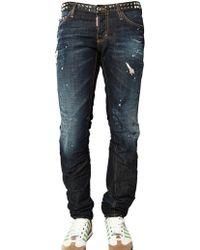 DSquared² 19cm Studded Denim Slim Fit Jeans - Lyst