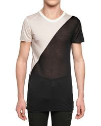 Gareth Pugh - Bicolored Modal Jersey Transparent T-shirt - Lyst