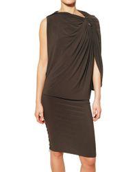 Lanvin Draped Techno Jersey Dress - Lyst