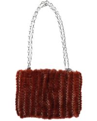 Paco Rabanne Iconic Knitted Mink Shoulder Bag brown - Lyst