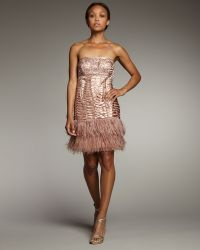 Sue Wong - Feathered Strapless Dress - Lyst