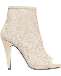 Gianna Meliani 115mm Lace Calfskin Ankle Boots beige - Lyst