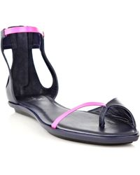 McQ by Alexander McQueen Skinny Leather Flat Sandals - Lyst