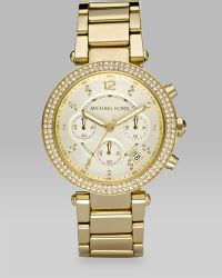 Michael Kors Parker Crystal & Goldtone Stainless Steel Chronograph Bracelet Watch - Lyst
