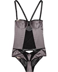 Nichole De Carle - Westminster Silk-Satin and Mesh Bodysuit - Lyst