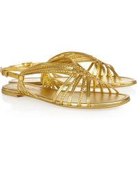 Saint Laurent Naya Metallic Leather Sandals - Lyst