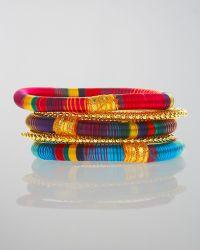 Rosena Sammi - Set Of Five Silk & Metal Bangles - Lyst
