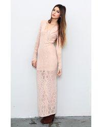 Nightcap Long Sleeve Deep V Gown - Lyst