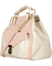 Topshop Pink Double Handle Chain Bag - Lyst