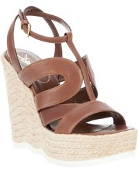 Saint Laurent Wedge Sandal - Lyst