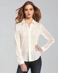 Textile Elizabeth and James Austin Lace-Inset Button-Down Blouse - Lyst