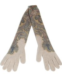 Etro Ecru/pastel Patterned Knit Gloves - Lyst