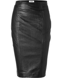 L'Agence Black Leather Skirt with Side Zip - Lyst