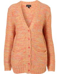 Topshop Knitted Fluro Stitch Cardi - Lyst